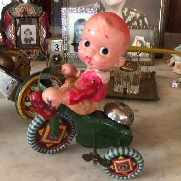 Vintage Prewar Japan Tin Litho Boy on Tricycle Toy